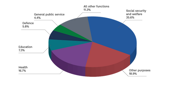Graph of how the 2021-22 Budget is spent