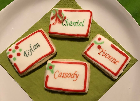 Christmas Name Place Card Cookies
