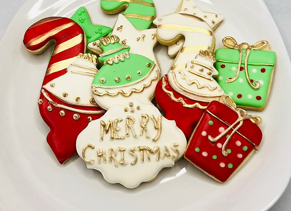 CHRISTMAS COOKIES CUTOUTS WITH GOLD ACCENTS