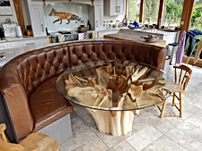 Wooden glass table with chairs