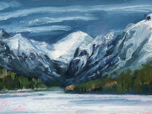 Winter, Mount Chapman at Bowman Lake