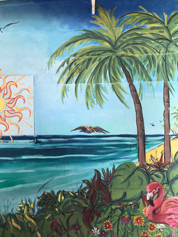 Key West theme mural in progress, right