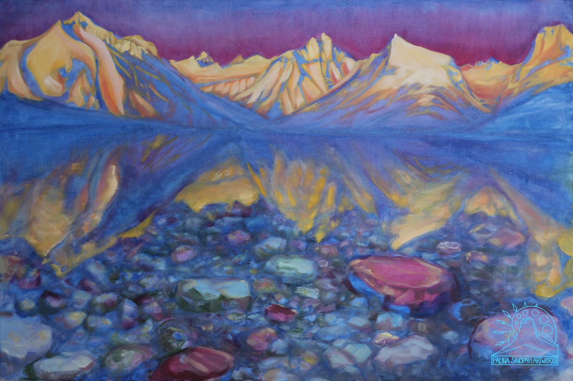"Alpenglow on Lake McDonald ""Sacred Dancing Lake"""