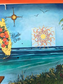 Key West theme mural in progress, left s