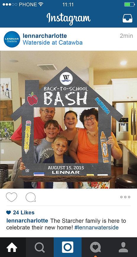 Back to School Bash, Lennar, waterside, Ellie Platt, instagram frame