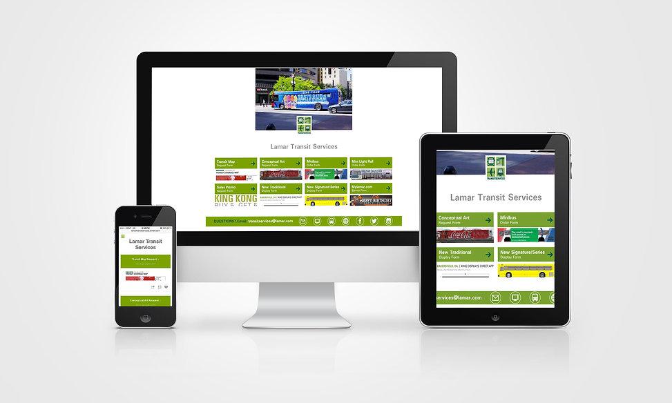 Lamar Advertising, transit design, web design