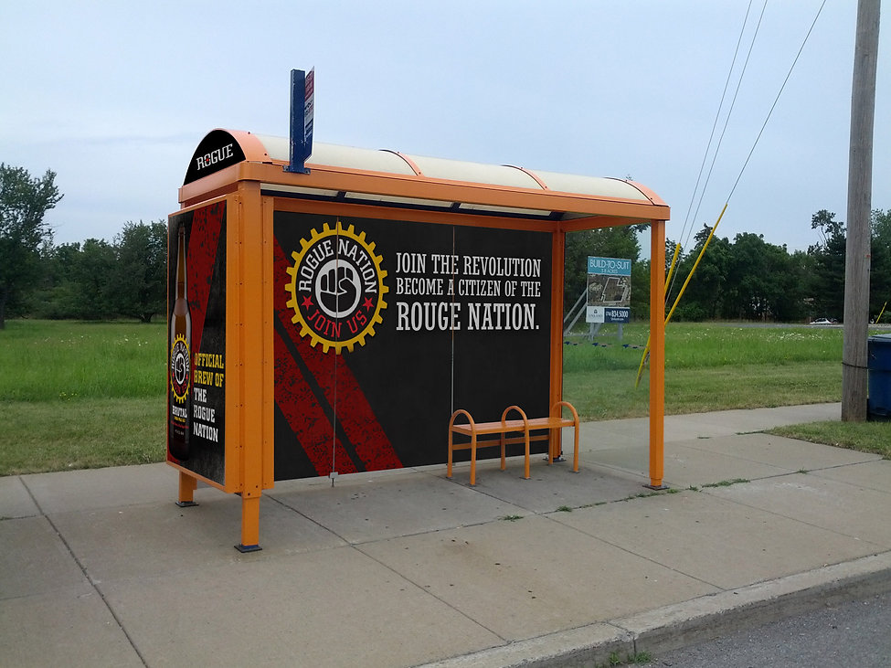 Lamar Advertising, Transit, Rogue Ales & Spirites, transit design, bus shelter