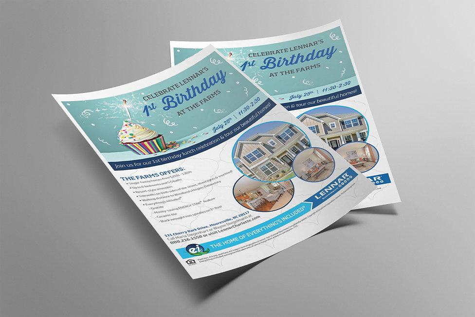 Ellie Platt, lennar, flyer design, 1st birthday