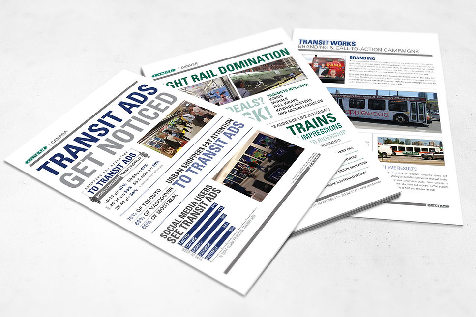 Lamar Advertising, transit design, flyer