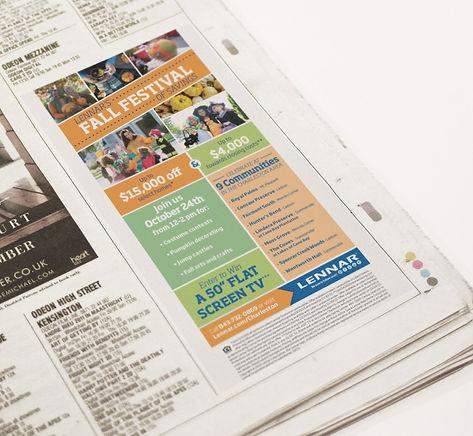 lennar, Ellie Platt, fall festival, newspaper ad, post and courier, advertisement, ad design