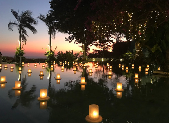 Floating Candles at Sunset