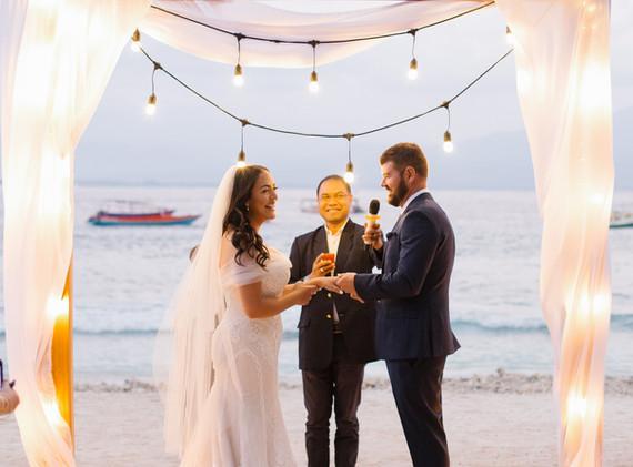 Beach Wedding at dusk