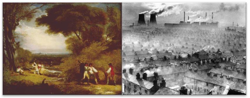 Mudanças na paisagem causadas pela industrialização.