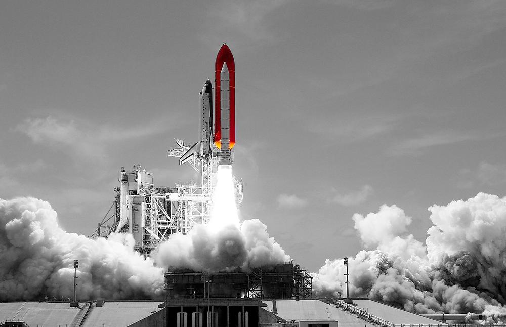 Lançamento de uma nave espacial.