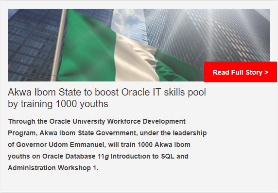Akwa Ibom State in Nigeria to boost Oracle IT skills pool by training 1000 youths
