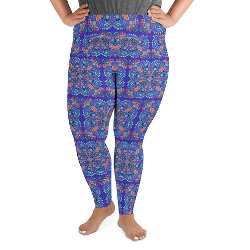 Blue Mandala Plus Size Leggings