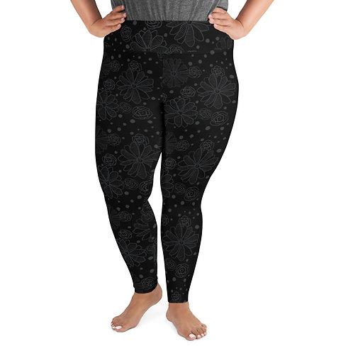 Flowers and Dots (Monochrome on Black) Plus Size Leggings