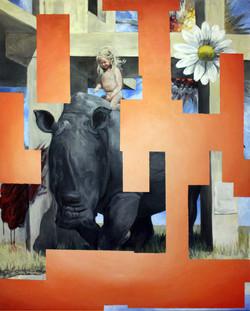 Orange abstraction vs girl on a rhino