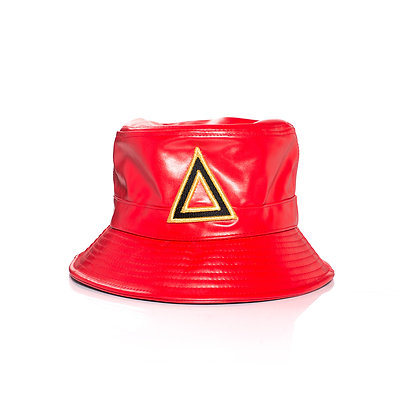 RED & GOLD LEATHER BUCKET HATS