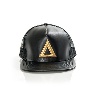 BLACK & GOLD LEATHER TRUCKER