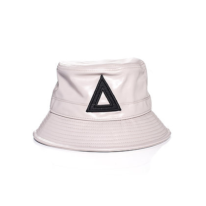 LIGHT GREY & BLACK LEATHER BUCKET HATS