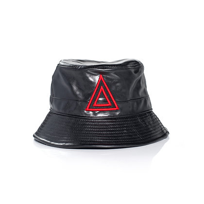 BLACK & RED LEATHER BUCKET THAT