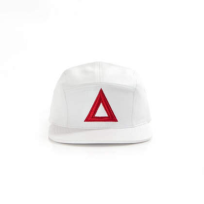 WHITE & RED 5 PANEL LEATHER