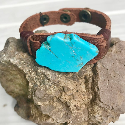 Blue Turquoise Leather Cuff