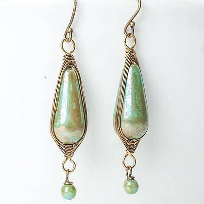 Rustic Creek Herringbone Czech Glass Dangle Earrings