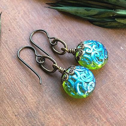 Aqua Lime Vintage Fusion Earrings