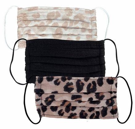 Cotton Mask 3pc Set - Leopard Kitch