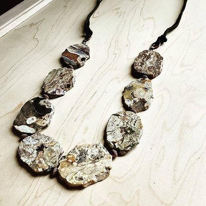 Genuine Brown Ocean Agate Slab Necklace 249g