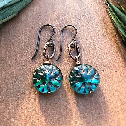 Deep Sea Dahlia and Copper Earrings