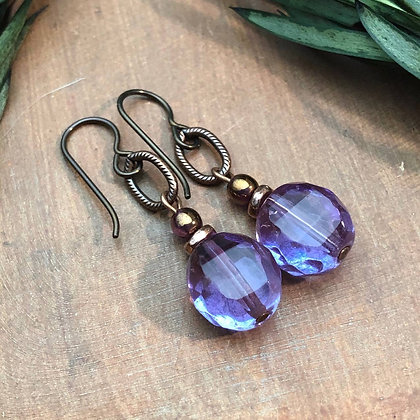 Lilac and Copper Earrings