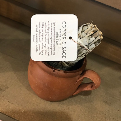 White Sage in Terra-Cotta Smudging Cup
