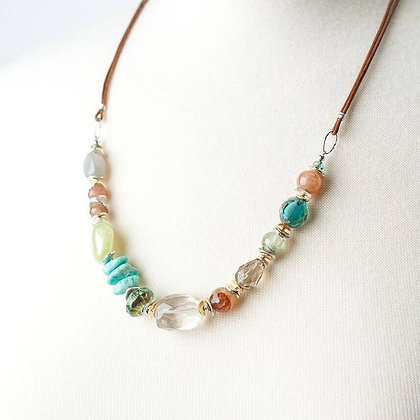 """Gentle Breeze 24-26"""" Gemstone Collage on Leather Necklace"""