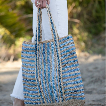Hello Again Woven Tote Bag-Blue