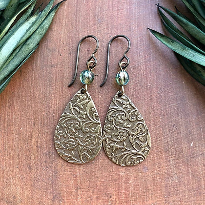 Sea Mist Aqua Green Boho Teardrop Embossed Pendant Earrings