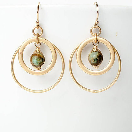 Tranquil Gardens African Turquoise Matte Gold Hoop Earrings