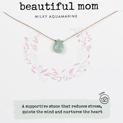 Beautiful Mom Milky Aquamarine Necklace