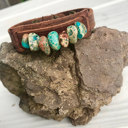 Dusty Leather Cuff Turquoise