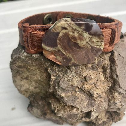 Dusty Leather Brown Ocean Agate