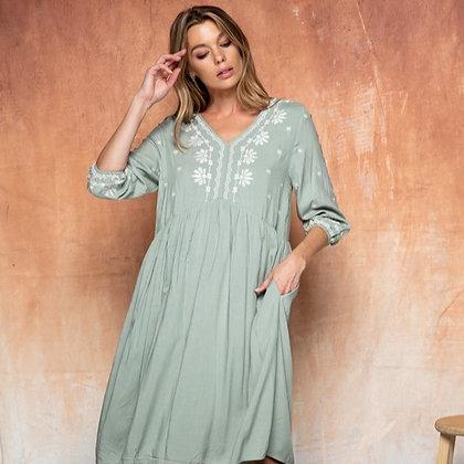 Emi Sage Midi Dress With Pockets