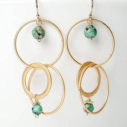 Tranquil Gardens African Turquoise Hoop Dangle Earrings