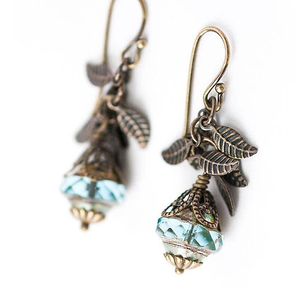 Rustic Creek Czech Glass and Leaf Dangle Earrings