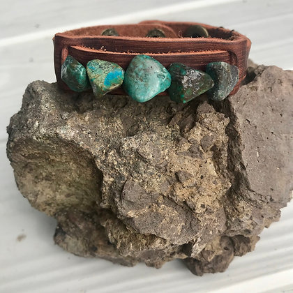 African Turquoise Leather Cuff