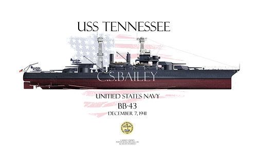 USS Tennessee BB-43 1941 FH T-shirt