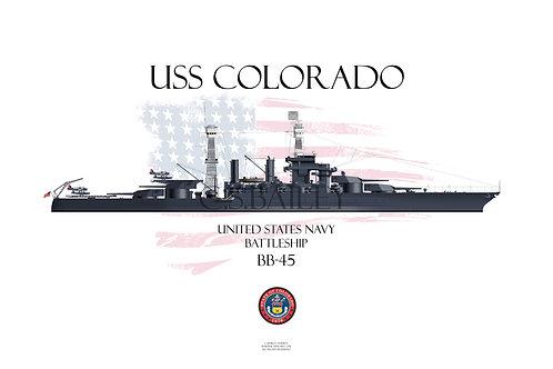 USS Colorado  BB-45 WL t-shirt