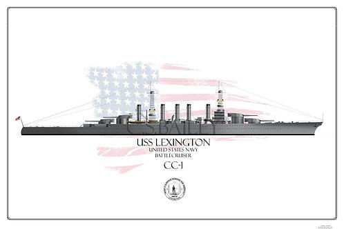 USS Lexington CC-1 1918 WL Print