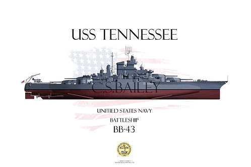 USS Tennessee BB-43 1944 FH T-shirt